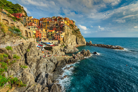 vernazza: Stunning panorama of Manarola,Cinque Terre National Park,Liguria,Italy,Europe