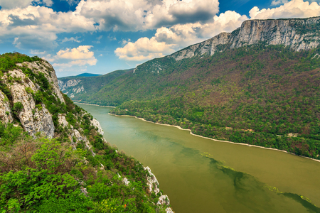 Danube gorge,seen from the Romanian side,Cazanele Mari National Park,Europe