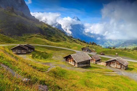 Alpenweiden en houten landelijke boerderijen, Eiger bergen op de achtergrond, Berner Oberland, Zwitserland, Europa