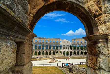 colonade: The famous Roman amphitheatre (Arena) in Pula town,Istrian peninsula,Croatia,Europe