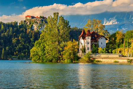 stunning: Stunning panorama with castle and Lake Bled,Slovenia,Europe