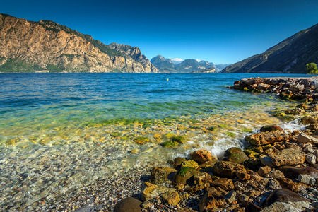 garda: Stunning panorama with Lake Garda near Torbole resort town,Italy,Europe