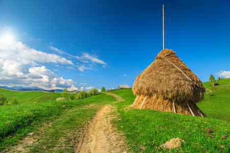 a straw: Stunning spring landscape with hay bale and country road,Bran,Transylvania,Romania,Europe
