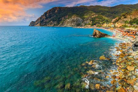 the medieval: Panorama of Monterosso with stunning beach,Cinque Terre National Park,Liguria,Italy,Europe Stock Photo