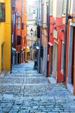 town: Stunning stone paved street with colorful houses,Rovinj old town,Istria region,Croatia,Europe