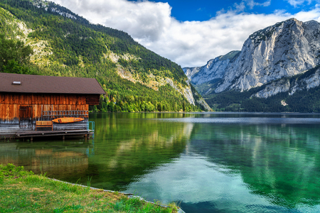 boat dock: Wooden boat dock with high rocky mountains in background,Altaussee,Salzkammergut,Austria,Europe
