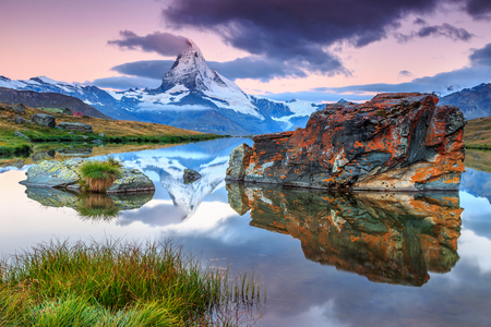 Stunning panorama with Matterhorn at morning and beautiful alpine lake,Stellisee,Valais region,Switzerland,Europe