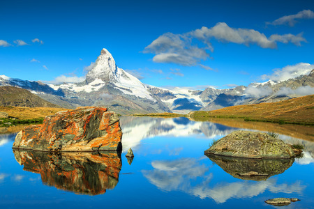 valais: Stunning panorama with Matterhorn at morning and beautiful alpine lake,Stellisee,Valais region,Switzerland,Europe