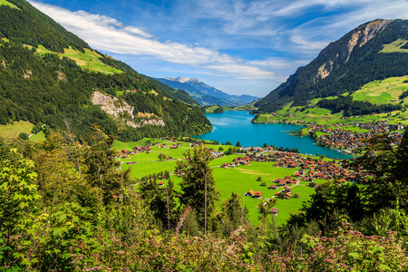 the bernese oberland: Spectacular alpine valley with Lungernsee lake from Brunig pass,Bernese Oberland,Switzerland,Europe