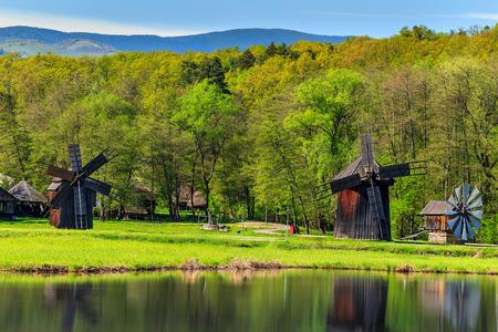 Transylvanian wooden windmills in the Astra Ethnographic Museum,Sibiu,Romania,Transylvania,Europe