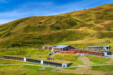 the bernese oberland: Famous electric red tourist trains and Kleine Scheidegg train station,Bernese Oberland,Switzerland,Europe