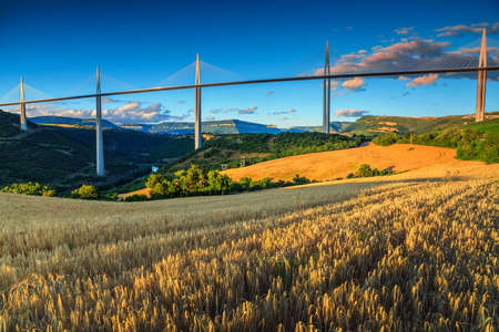 millau: Best locations of world,spectacular viaduct of Millau with grain fields,Aveyron region,France,Europe