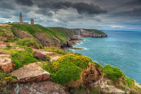bretagne: Stunning traditional lighthouse of Cap Frehel peninsula on the Cote dEmeraude, near Plevenon village,Armor coast,Bretagne,northern France,Europe