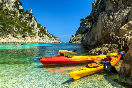 Colorful kayaks in the famous French fjords,Calanques national park,Calanque dEn Vau bay,Cassis,Marseille,southern France,Europe Stock Photo