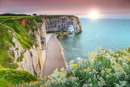 Amazing cliffs Aval of Etretat and beautiful famous coastline,Normandy,France,Europe