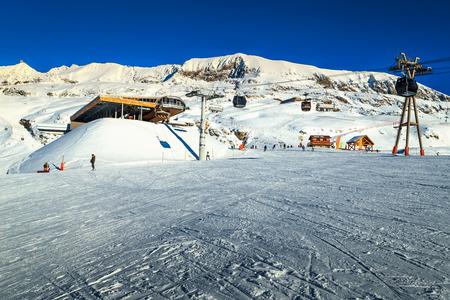 station ski: Spectacular sunny ski resort with cable car station,Alpe d Huez,France,Europe