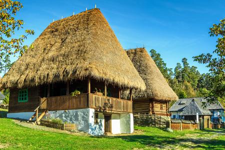 astra: Typical old peasant houses,Astra village museum,Sibiu,Transylvania,Romania,Europe