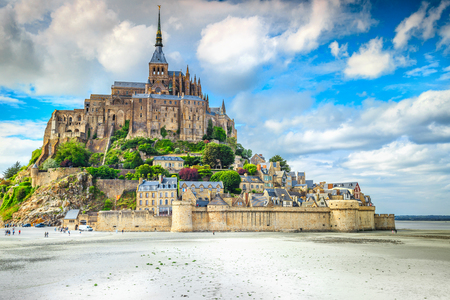 Beautiful Mont Saint Michel cathedral on the island, Normandy, Northern France, Europe Reklamní fotografie