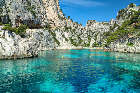 Colorful kayaks in the famous French fjords,Calanques national park, Calanque d'En Vau bay, Cassis,Marseille, Southern France, Europe