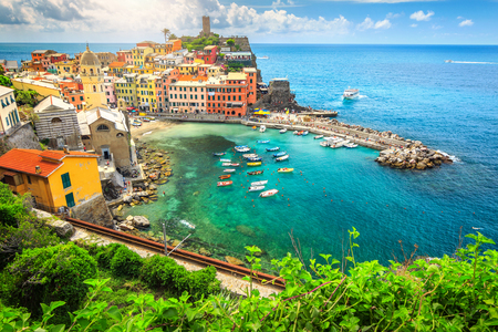 Stunning panorama of Vernazza with magical suspended garden, Cinque Terre National Park, Liguria, Italy, Europe