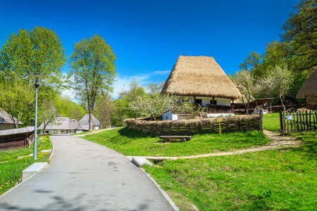 Spectacular old peasant houses, Astra village museum, Sibiu, Transylvania, Romania, Europe