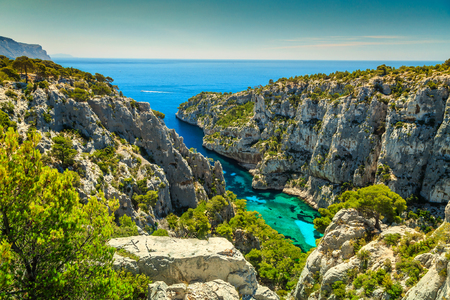 Breathtaking viewpoint on the cliffs, Calanques DEn Vau bay, Calanques National Park near Cassis fishing village, Provence, South France, Europe