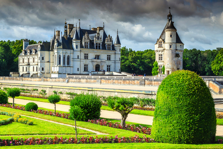 Beautiful ornamental garden of Chenonceau castle in the Loire Valley, France, Europe Фото со стока - 75862313