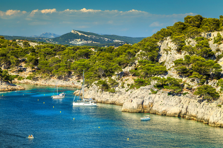 Amazing Calanque De Port Pin bay with sailing boats and luxury yachts, Calanques National Park near Cassis fishing village, Provence, South France, Europe