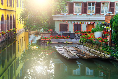 Beautiful colorful traditional french houses on the side of river Lauch in Petite Venise, Colmar, France, Europe