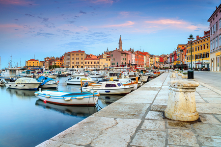 Stunning romantic old town of Rovinj with magical sunrise,Istrian Peninsula,Croatia,Europe Stok Fotoğraf