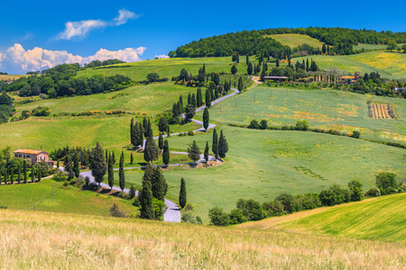 Famous travel and photography destination in Tuscany. Fantastic winding rural road near Monticchiello, Tuscany, Italy, Europe