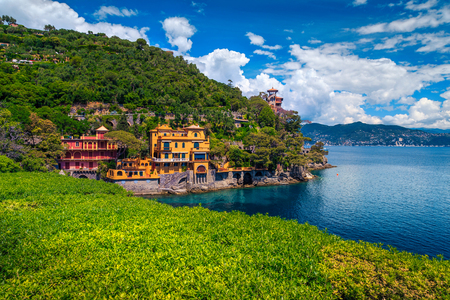Wonderful summer holiday location, mediterranean colorful luxury seaside villas and spectacular bay with clean turquoise water, Portofino, Liguria, Italy, Europe