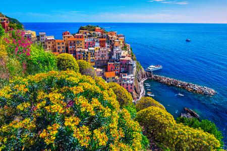 Amazing summer travel destination, spectacular ornamental garden with colorful flowers and mediterranean fishing village, Manarola, Cinque Terre, Liguria, Italy, Europe 写真素材
