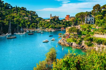 Meravigliosa baia con colorati edifici mediterranei e barche, yacht in una spettacolare località di villeggiatura, Portofino, Liguria, Italia, Europa Archivio Fotografico