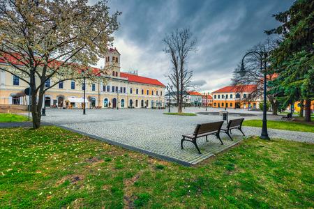 Fantastic Transylvanian touristic city and travel destination. Paved city center with fountain and flowery park, Sepsiszentgyorgy (Sfantu Gheorghe), Transylvania, Romania, Europe
