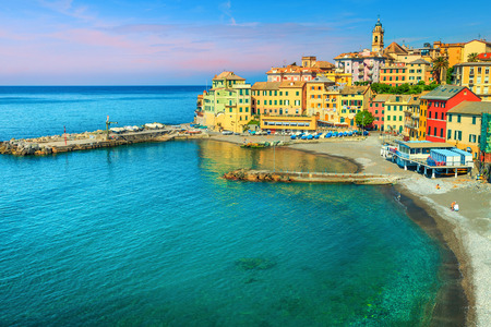 Famous summer beach location, picturesque colorful mediterranean location with spectacular beach, Bogliasco, Liguria, Italy, Europe