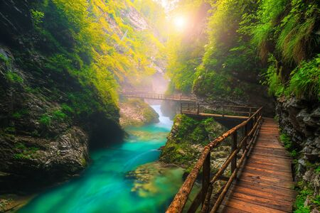 Famous and popular touristic attraction near Bled. Picturesque Vintgar gorge with wooden footbridge and emerald color Radovna river, near Bled, Gorje, Slovenia, Europe