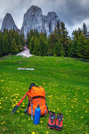Hiking boots, colorful backpack, thermos and hiking pole in flowery meadow. Hiking and trekking equipment concept 版權商用圖片