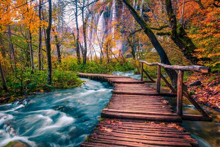 Popular touristic wooden bridge in the colorful autumn deep forest. Wooden promenade with clean brook and spectacular waterfalls, Plitvice National Park, Croatia, Europe 写真素材