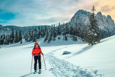 Happy backpacker woman in the fresh powder snow. Ski touring on the snowy hills. Backcountry skier woman with colorful backpack and mountain equipment in the deep snow, Carpathians, Transylvania, Romania, Europe