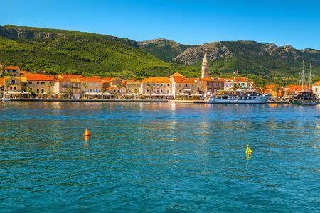 Stunning touristic and excursion location. Adriatic old fishing and touristic village with stone houses, Jelsa village, Hvar island, Dalmatia, Croatia, Europe
