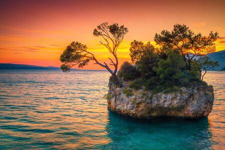 Well known wonderful nature place and touristic attraction with small rock island near Brela resort, Makarska riviera, Dalmatia, Croatia, Europe
