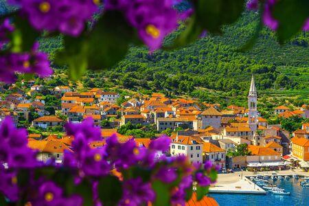 Admirable travel and excursion destination. Mediterranean old fishing and touristic village with stone houses. Jelsa village, Hvar island, Dalmatia, Croatia, Europe Archivio Fotografico