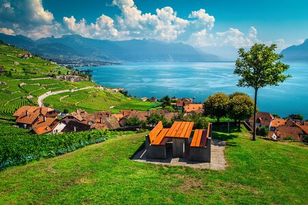 Stunning view from the resting place with vineyards and lake Geneva in background. Table and benches on the hill with great view, Rivaz village, Lake Geneva, Canton of Vaud, Switzerland, Europe