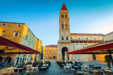 Admirable spacious cute street cafe and restaurant in Trogir old town square, Dalmatia, Croatia, Europe. Gorgeous travel and vacation location.