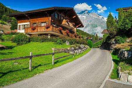 Cozy street view with wooden lodges and flowery ornamental gardens in Grindelwald mountain resort, Bernese Oberland, Switzerland, Europe Archivio Fotografico