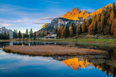 Beautiful dawn scenery with mountains reflected on the lake Antorno at sunrise, Dolomites, Italy, Europe