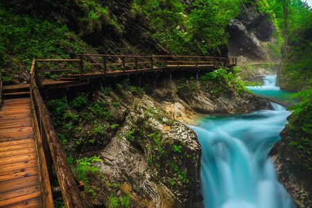 Famous nature touristic attraction near Bled. Majestic Vintgar gorge with wooden footbridge and noisy emerald color Radovna river, near Bled, Gorje, Slovenia, Europe