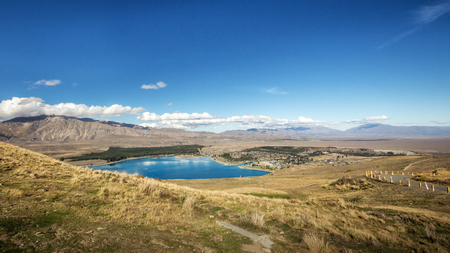 tekapo: Lake Tekapo in the South Island of New Zealand. , View from Mt. John University Observatory. Stock Photo