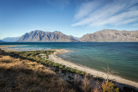 the south island: Lake Hawea in the South Island of New Zealand.